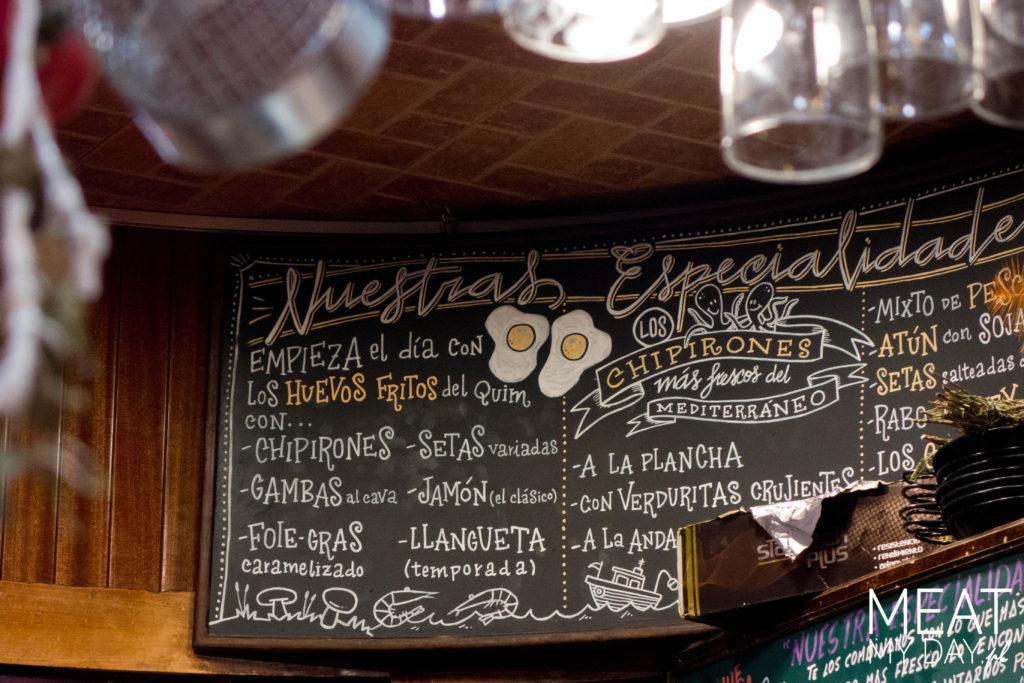 Menu w El Quim de la Boqueria