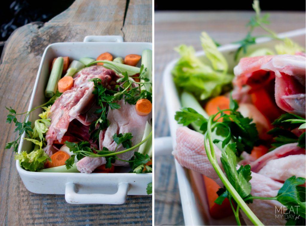Mięso i warzywa na bulion i ramen z kaczki