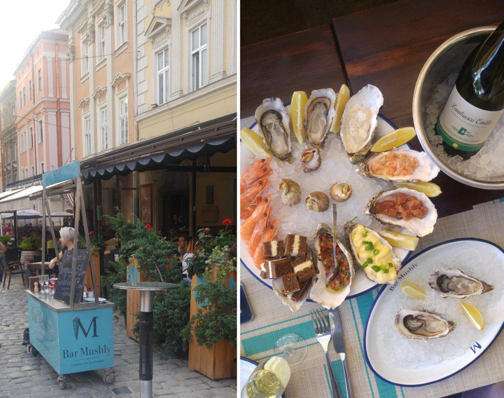 Bar Mushly - bar z ostrygami i talerz owoców morza