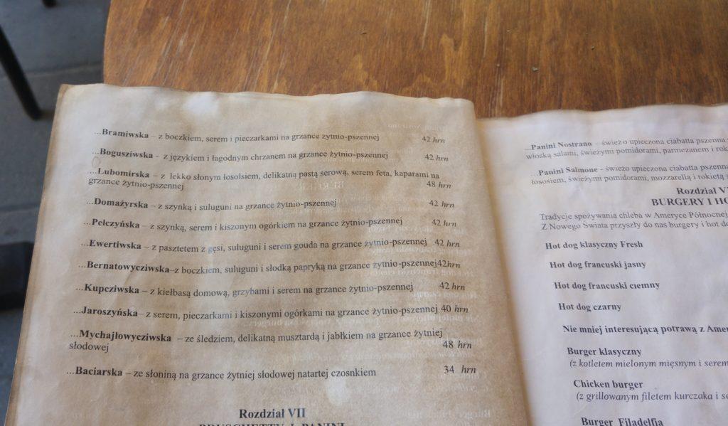 Chleb i Wino - menu